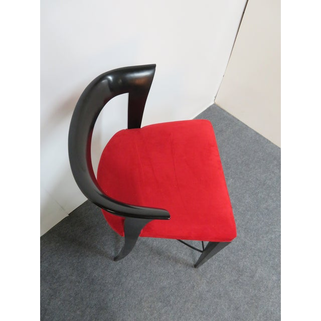Metal Modern Design Custom Red Upholstered Lacquered Bar Stool Set of 3 For Sale - Image 7 of 8