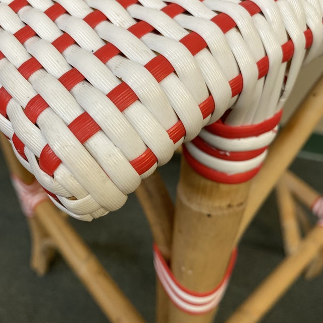 Wood Serena & Lily Riviera Red + White Barstools, a Pair For Sale - Image 7 of 11