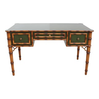 Chinese Chippendale Chinoiserie Directoire Desk - Faux Bamboo For Sale