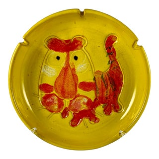 Mid-Century Modern Bennett Walsh Pacific Stoneware Tiger Ashtray, Signed For Sale