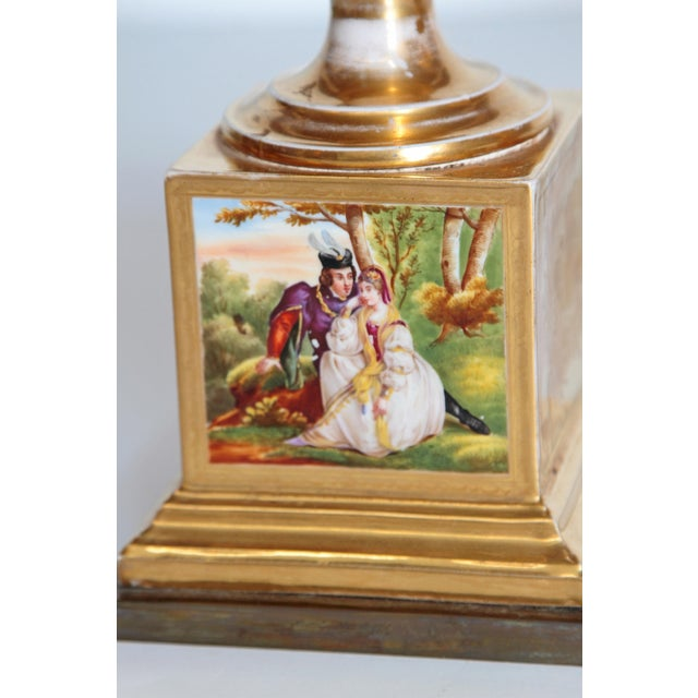 19th Century Pair of French Porcelain Gilt Urns With Scenes For Sale - Image 9 of 13