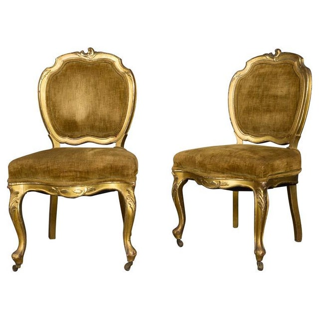 Pair of Rococo Revival Giltwood Side Chairs For Sale - Image 11 of 11