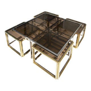 Maison Charles, Paris, Large Brass and Chrome Square Coffee Table For Sale