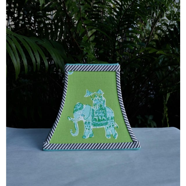Green Green Lilly Pulitzer Fabric Clip on Coastal Elephant Lampshade For Sale - Image 8 of 11