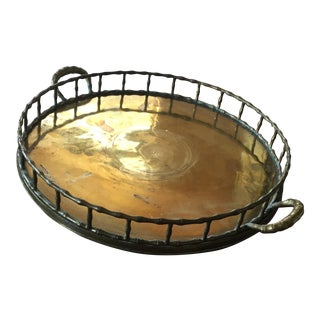 Vintage Brass Bamboo Tray