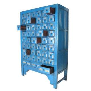 Antique Chinese Blue Lacquered Apothecary Cabinet Display For Sale