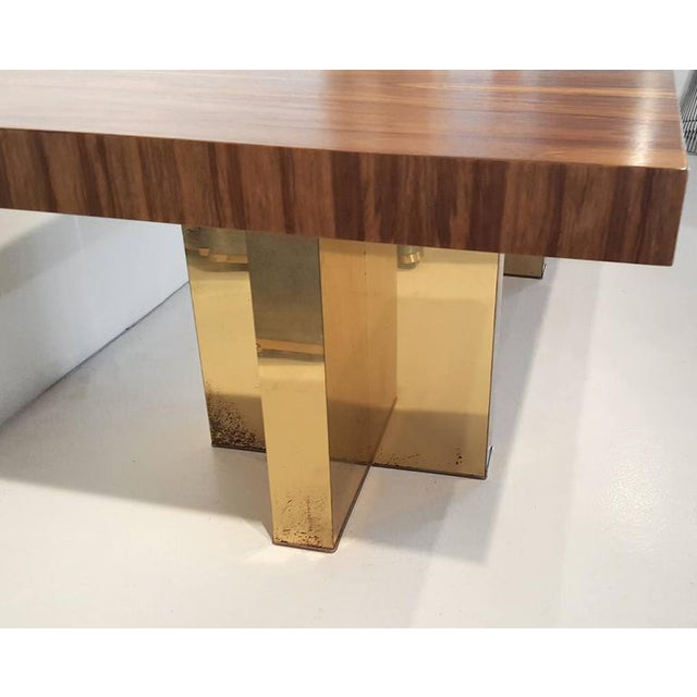 Contemporary Milo Baughman Exotic Brazilian Rosewood and Brass Dining Table for Thayer Coggin For Sale - Image 3 of 4