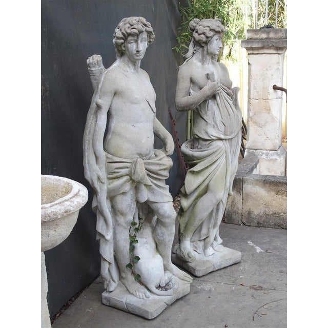 Pair of 20th Century French Statues Representing Apollo and Diana For Sale - Image 10 of 13
