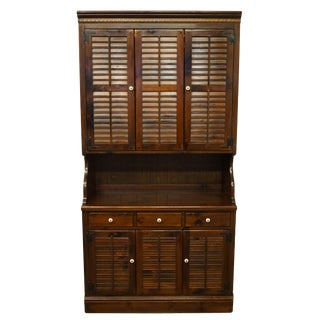 1970s Ethan Allen Pine Old Tavern Crp Shutter Door Cabinet With Storage Hutch Top For Sale