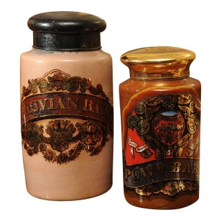 1830 English Reverse Painted Glass Pharmacy Jars - a Pair For Sale