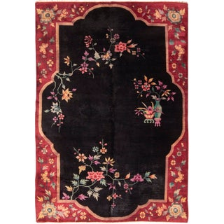 Vintage Mid-Century Chinese Art Deco Style Floral Wool Rug - 5′10″ × 8′6″ For Sale