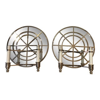 Contemporary Chrome and Mirrored Circular Sconces - a Pair For Sale