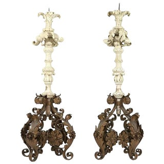 Pair of Italian Carved Wood and Wrought Iron Torchieres, 19th Century For Sale