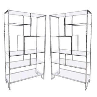 Milo Baughman Mid Century Chrome and Glass Etagere's With Greek Key Legs - A Pair For Sale