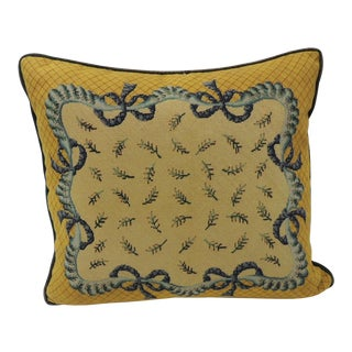 19th Century Blue and Yellow Decorative Tapestry Pillow For Sale
