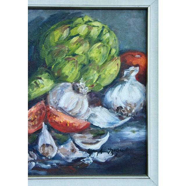 Green Artichoke Vegetable Still Life Original Oil Painting For Sale - Image 8 of 11