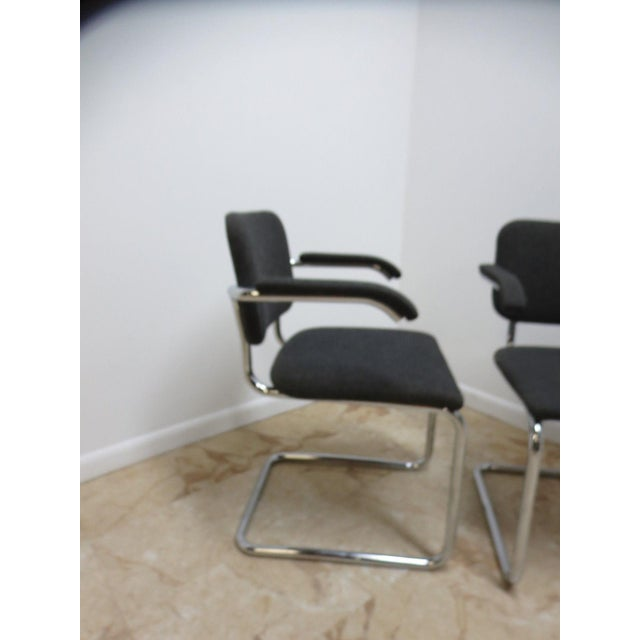 Knoll Knoll Arm Chrome Cantilever Arm Chairs - A Pair For Sale - Image 4 of 9