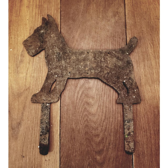 Exceptional large heavy iron Terrier Dog form boot scraper. Large size with heavy supports to sink it in the ground near...