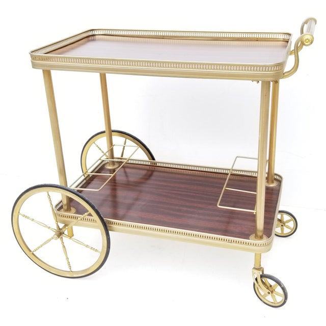 Maison Jansen French Neoclassical Brass Bar Cart For Sale In Miami - Image 6 of 8
