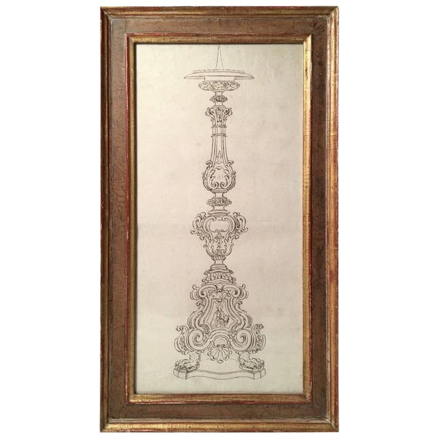 18th Century Italian Pen and Ink Baroque Candlestick Drawing - Image 1 of 6