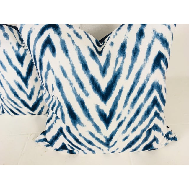 Large Flame Stitch White & Blue Pillows – a Pair For Sale - Image 4 of 8