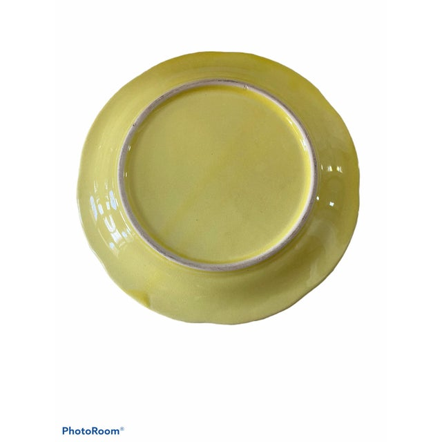 Traditional Vintage Yellow Cabbage Leaf Plates Set/8 For Sale - Image 3 of 5
