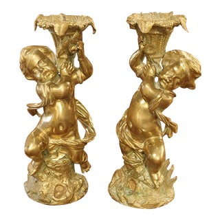 Circa 1850 Gilt Bronze Putti Candlestick Holders from France