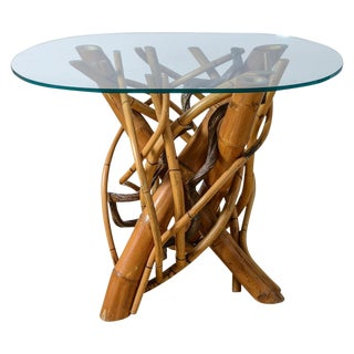 Modernist Organic Thick Bamboo Shoots Gathered Table Base With Glass Top For Sale