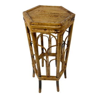 Tall Octagonal Bamboo Plant Stand For Sale