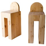 Image of Set of 8 Rustic Solid Pine Barstools For Sale