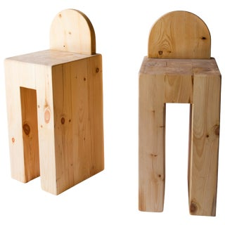 Set of 8 Rustic Solid Pine Barstools For Sale