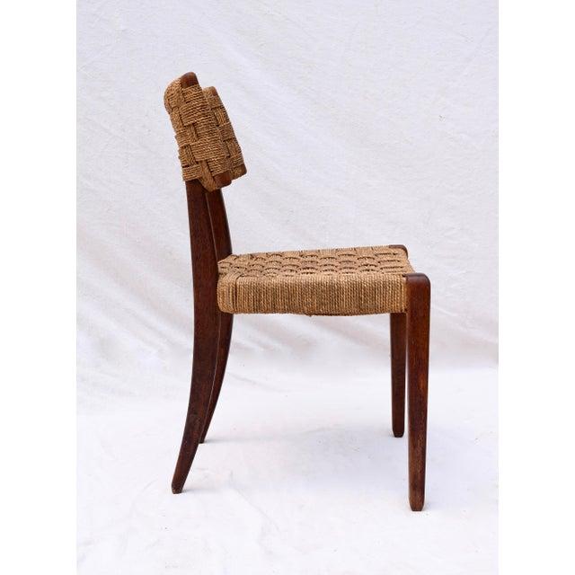Teak Mid Century Modern Side Desk Rope Chair For Sale In Philadelphia - Image 6 of 12