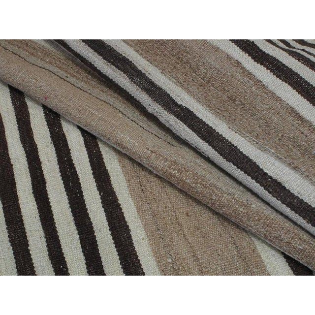 Textile Striped Kilim Wide Runner in Natural Brown For Sale - Image 7 of 9