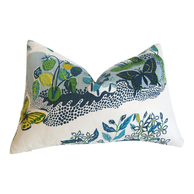 """Schumacher Citrus Garden """"Pool"""" Lumbar Pillow Cover 12x18 For Sale"""