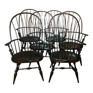 1980s Traditional Dr Dimes Ebonized Wood Windsor Dining Chairs - Set of 6