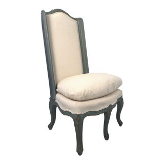 Antique Style Upholstered Slipper Chair For Sale