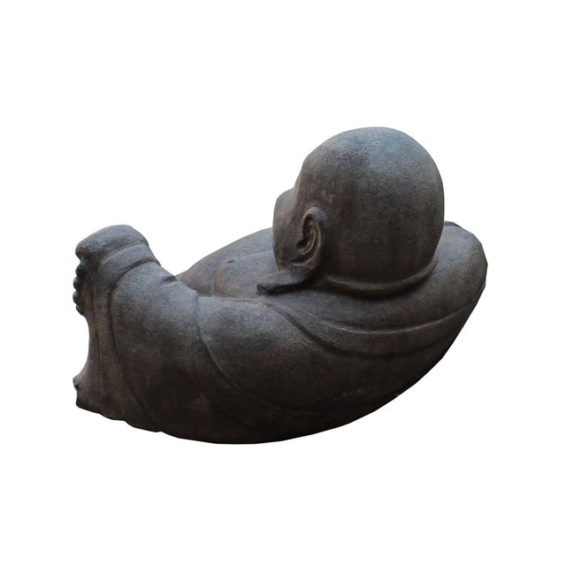 Chinese Gray Stone Carved Small Sitting Happy Laughing Buddha Statue For Sale - Image 4 of 5