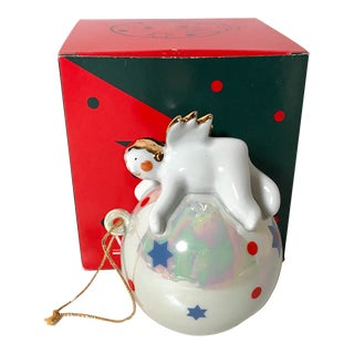 1990s Vintage Villeroy & Boch Flying Angel Ornament & Box - 2 Pieces For Sale