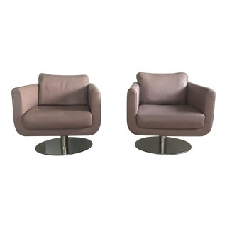 Italian Leather Swivel Chairs - A Pair For Sale