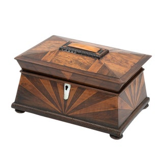 Lovely Pagoda Shape Box With Sunburst Marquetry, English, Circa 1850. For Sale
