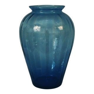 Antique Ribbed Light Blue Glass Vase For Sale