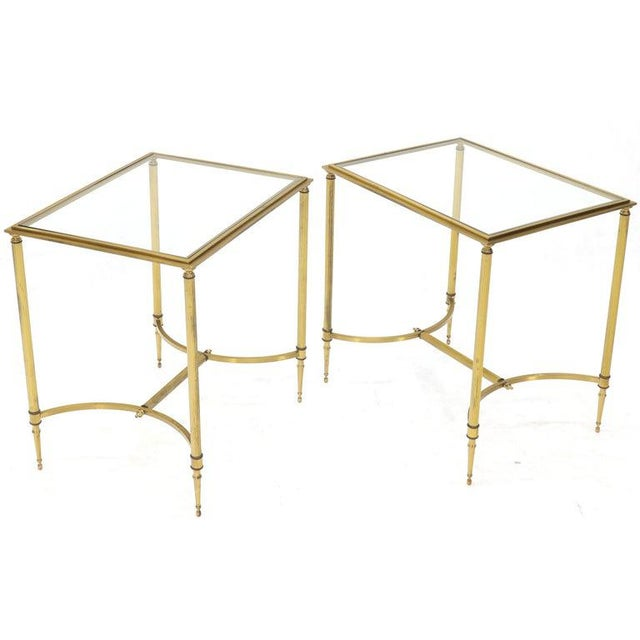 Pair of Solid Brass Glass Tops Stretcher Janson Style End Occasional Tables For Sale - Image 11 of 13