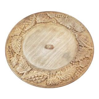 Antique Hand Carved Oak Fruit Plate For Sale