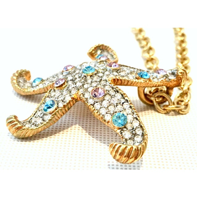 Metal 21st Century K. Lane Gold & Swarovski Crystal Starfish Pendant Necklace For Sale - Image 7 of 10