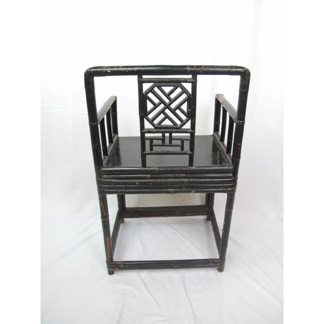Mid-19th Century Qing Dynasty Bamboo and Lacquer Chair For Sale - Image 4 of 7