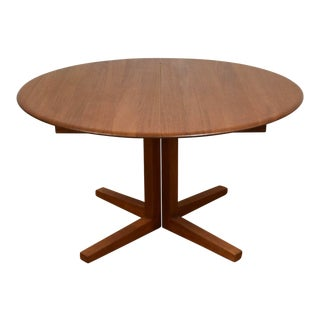 Danish Modern Round Teak Dining Table W/ Leaf For Sale