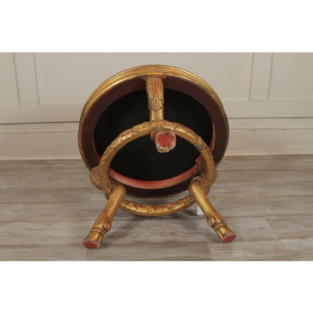 Fabric Late 20th Century Vintage Charles X Style Gilt Wood Stool Bench For Sale - Image 7 of 8