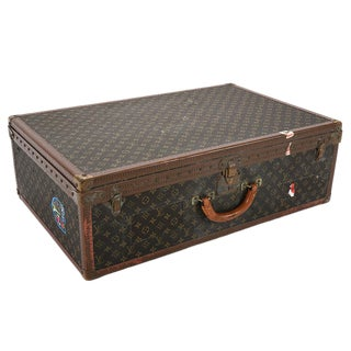 Vintage Louis Vuitton Signature Brown Leather Embossed Trunk For Sale