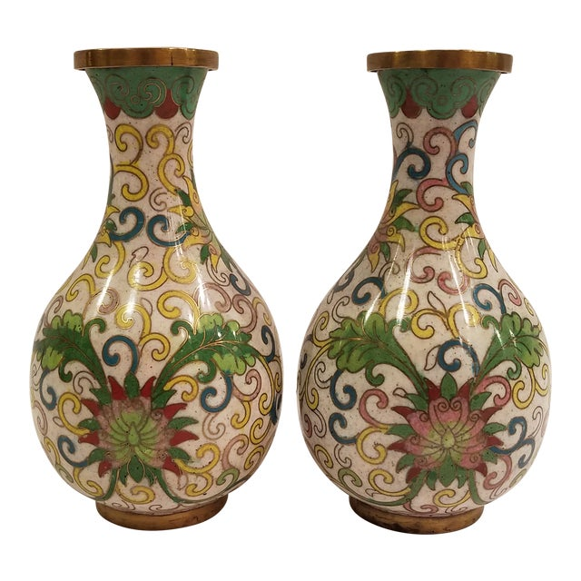 1920s Chinese Cloisonne Vases - a Pair For Sale