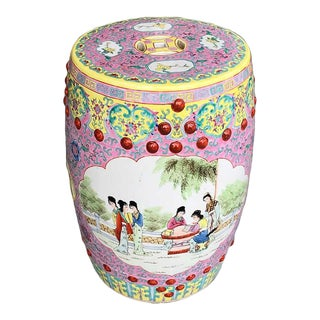 1960s Chinoiserie Chinese Famille Rose Pink Yellow Ceramic Garden Seat Stool For Sale